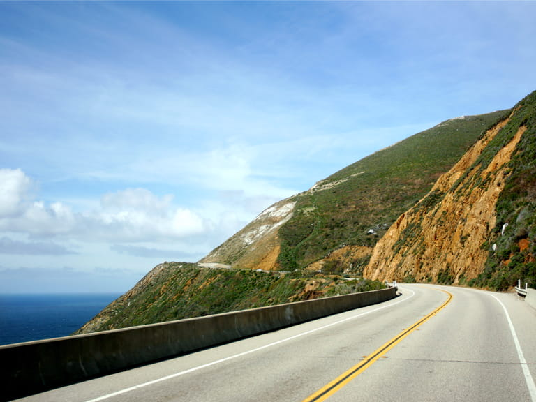 The Californian coastline on Highway 101