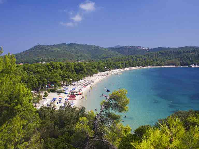 Koukounaries Beach in Skiathos, Greece